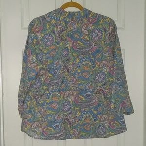 Izod Tops - Izod Paisley print button down top blouse Sz 1X